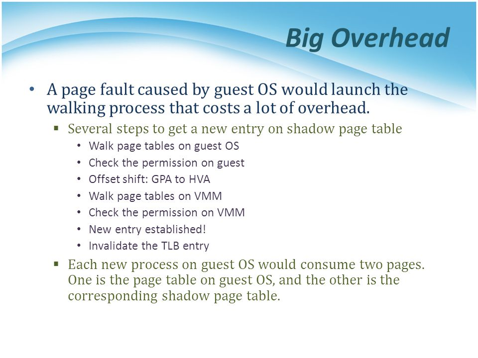 Big Overhead A page fault caused by guest OS would launch the walking process that costs a lot of overhead.