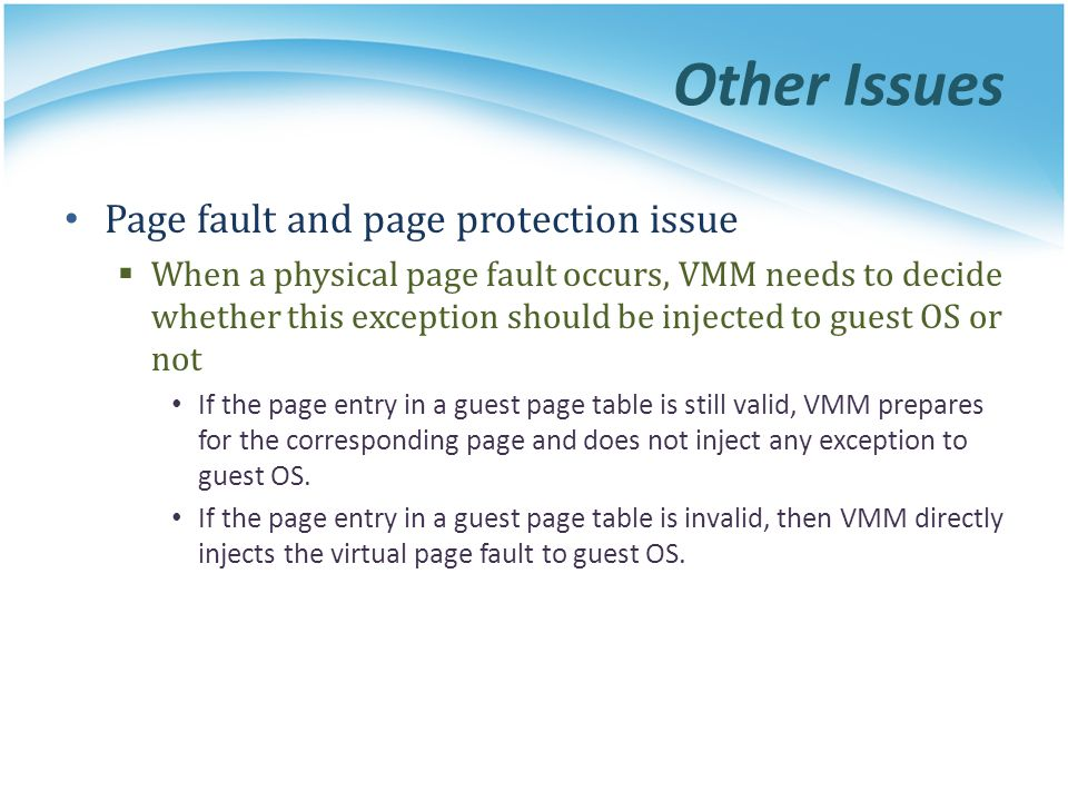 Other Issues Page fault and page protection issue