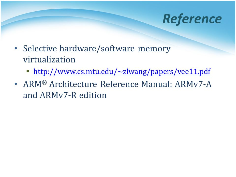 Reference Selective hardware/software memory virtualization