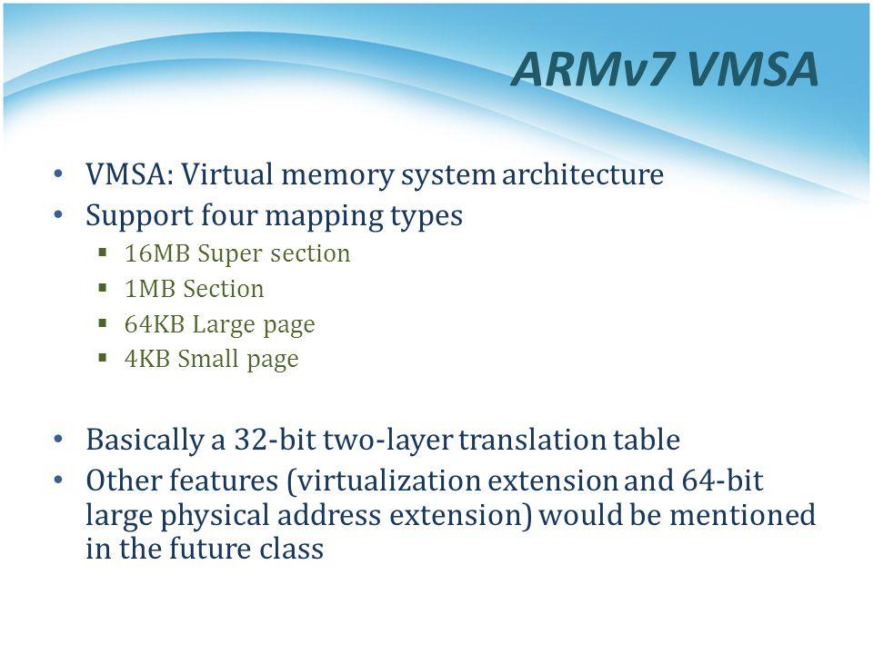 ARMv7 VMSA VMSA: Virtual memory system architecture