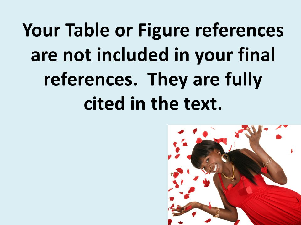 Your Table or Figure references are not included in your final references.