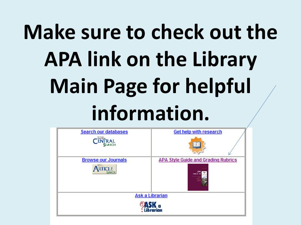 Make sure to check out the APA link on the Library Main Page for helpful information.