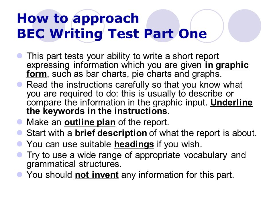 How to approach BEC Writing Test Part One
