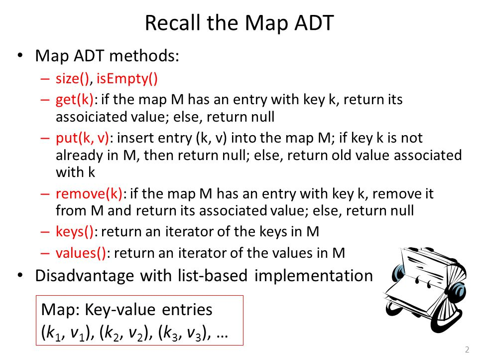 Recall the Map ADT Map ADT methods:
