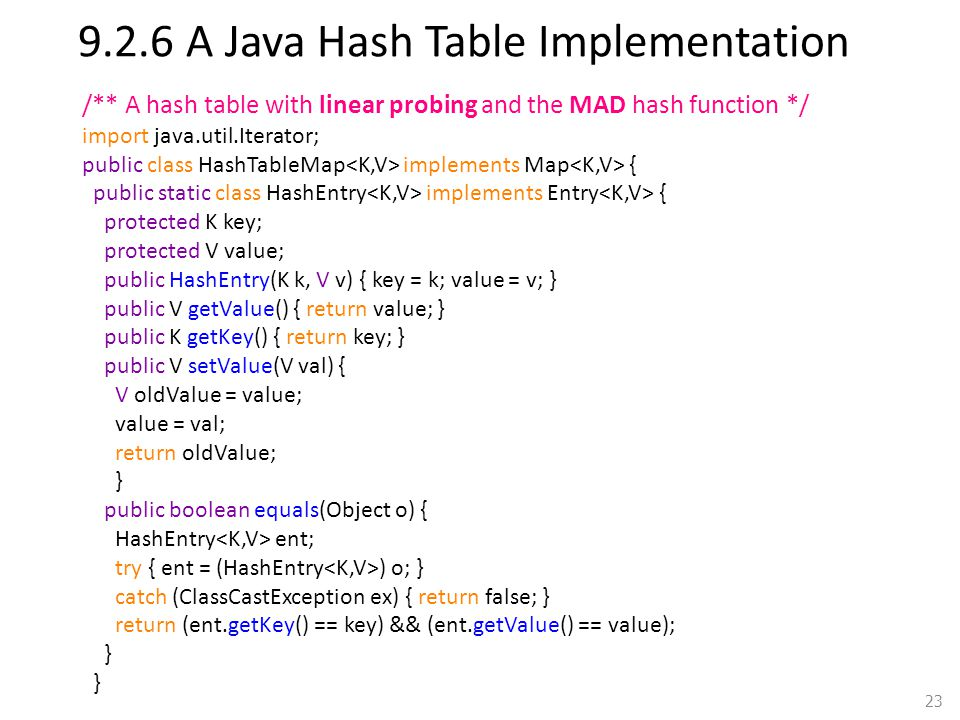 9.2.6 A Java Hash Table Implementation