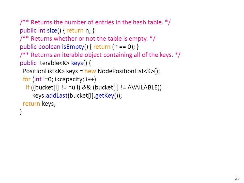 /** Returns the number of entries in the hash table. */