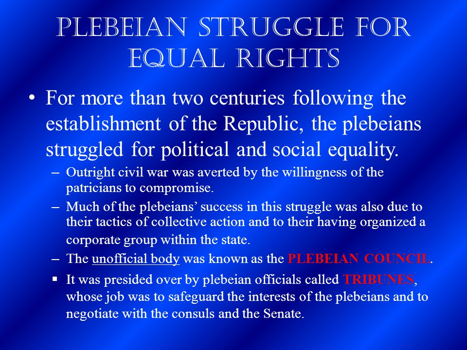 Plebeian Struggle for Equal Rights