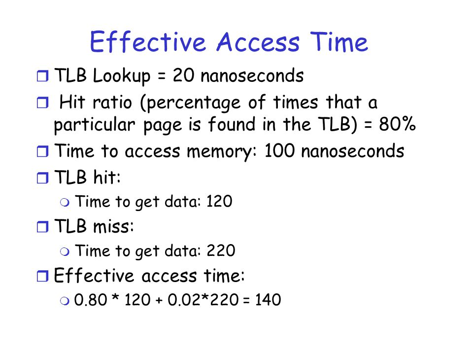 Effective Access Time TLB Lookup = 20 nanoseconds