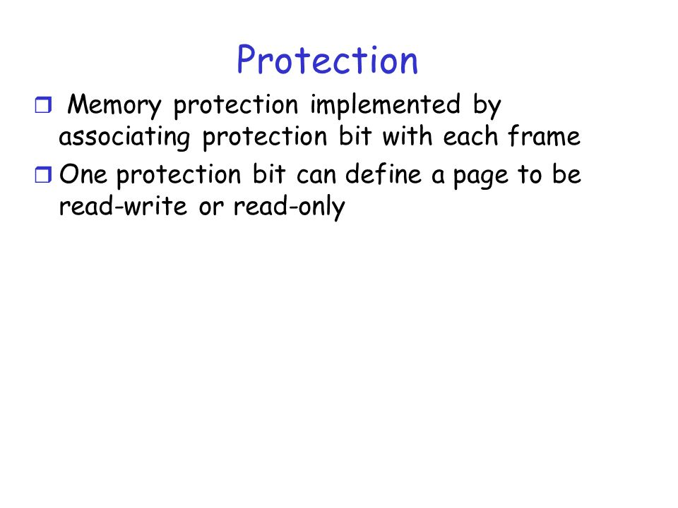 Protection Memory protection implemented by associating protection bit with each frame.