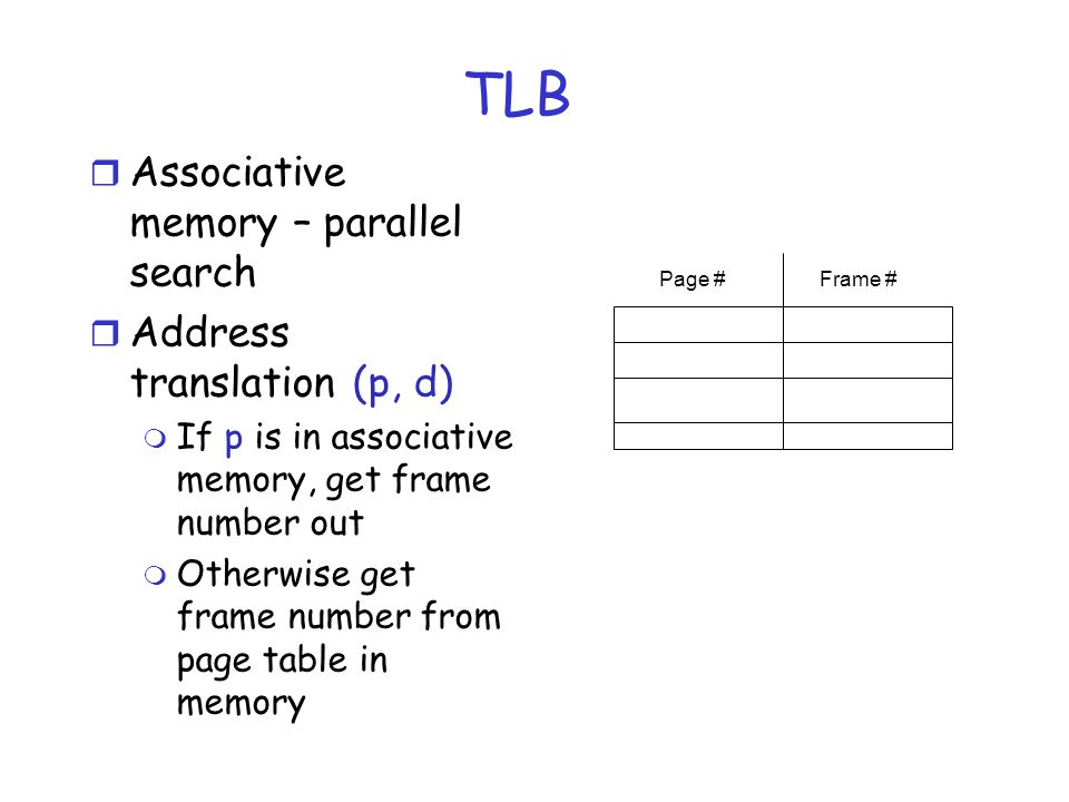TLB Associative memory – parallel search Address translation (p, d)