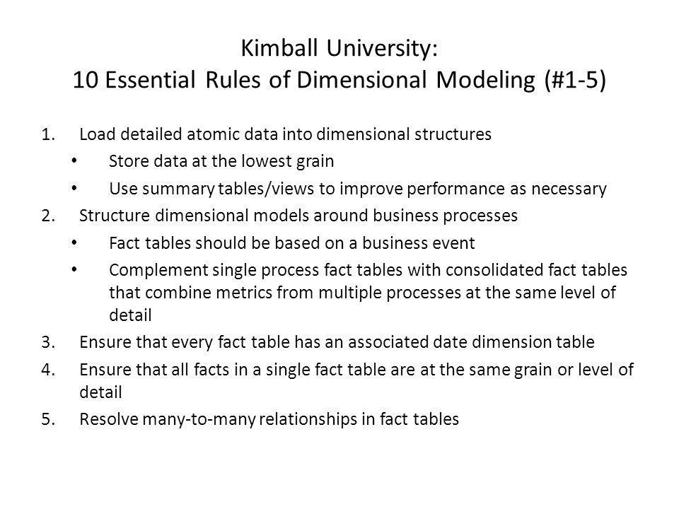 Kimball University: 10 Essential Rules of Dimensional Modeling (#1-5)