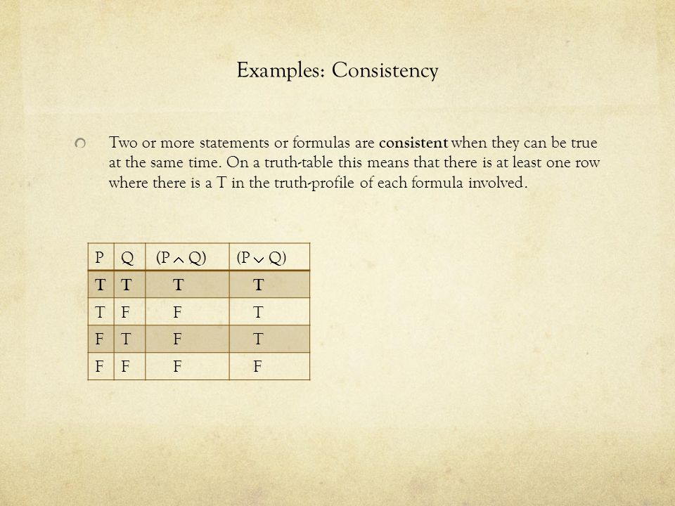 Examples: Consistency