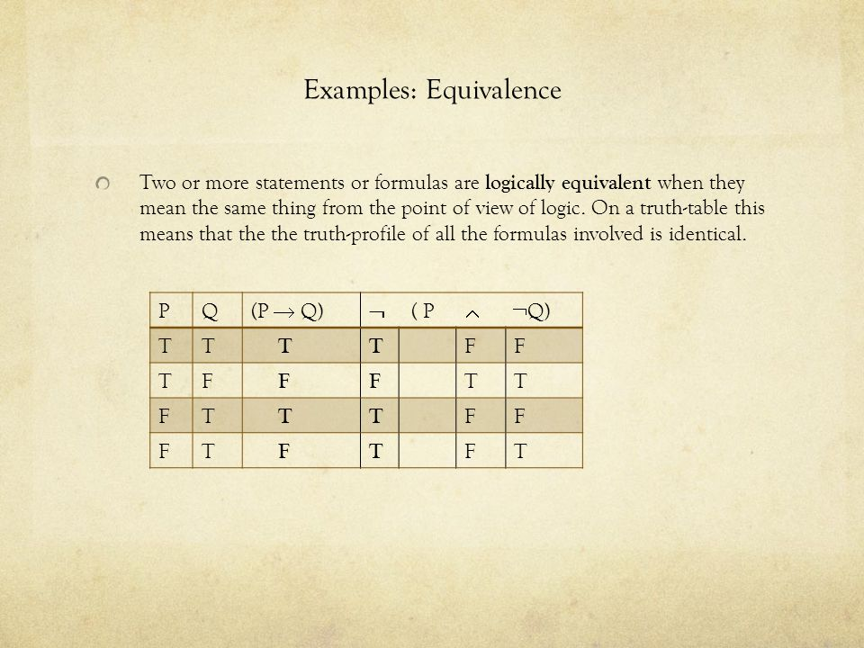 Examples: Equivalence