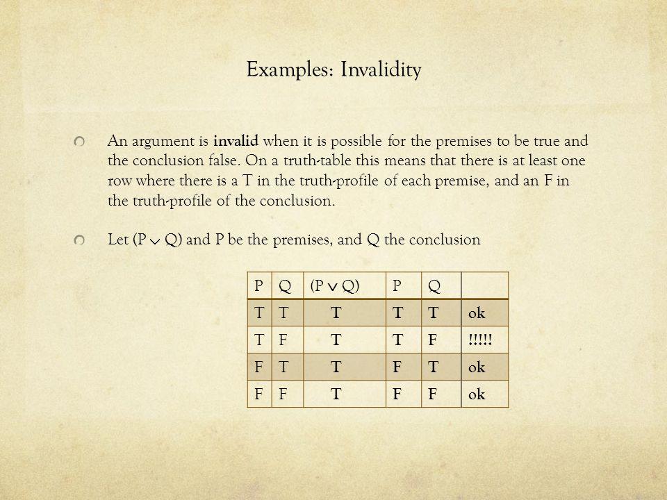 Examples: Invalidity
