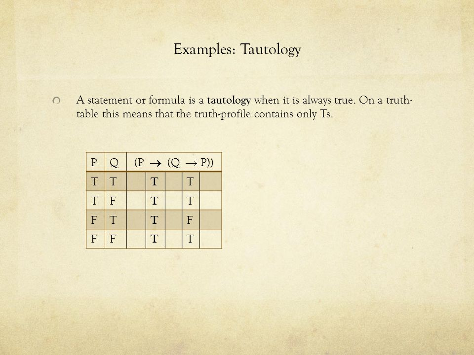 Examples: Tautology