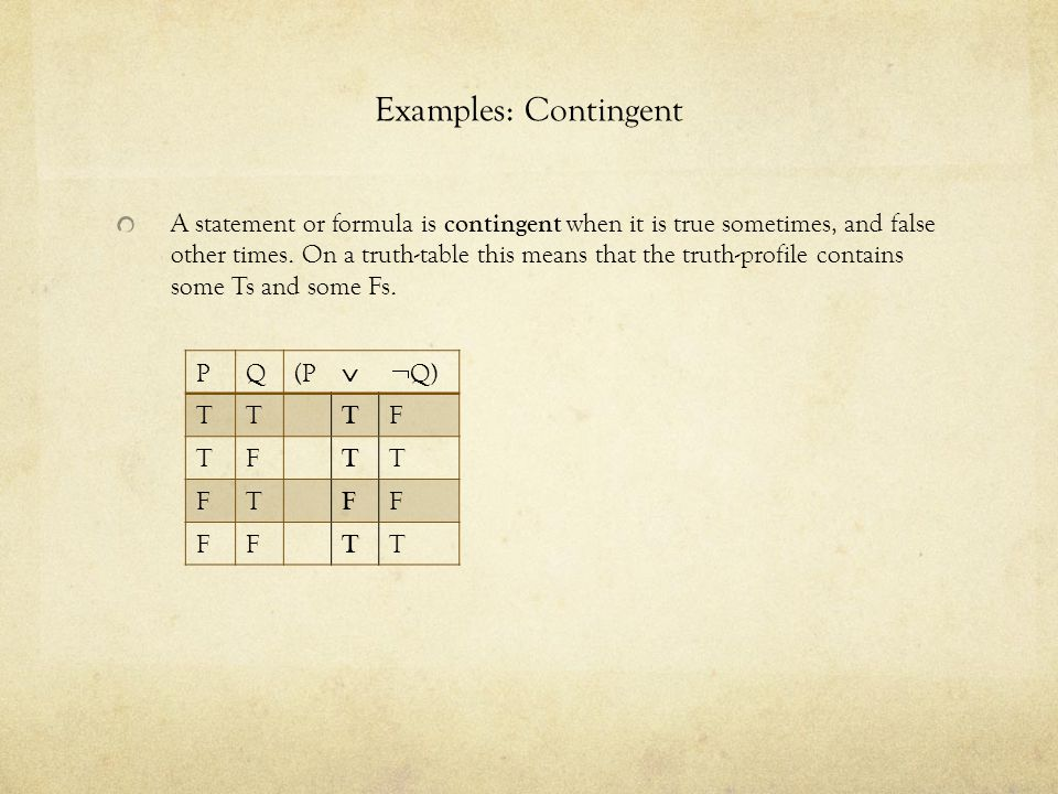 Examples: Contingent