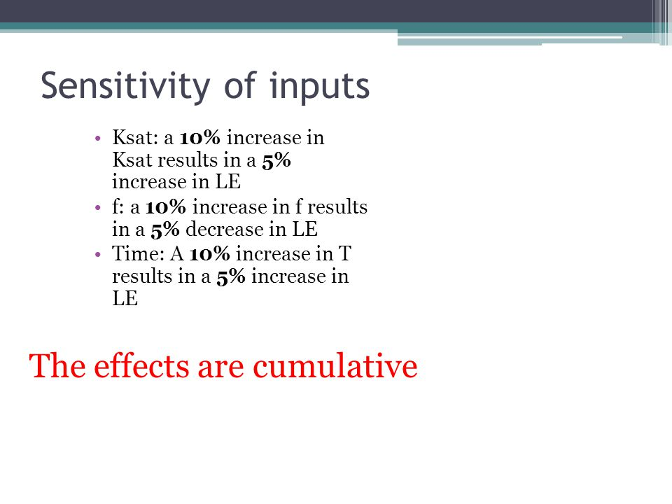 Sensitivity of inputs The effects are cumulative