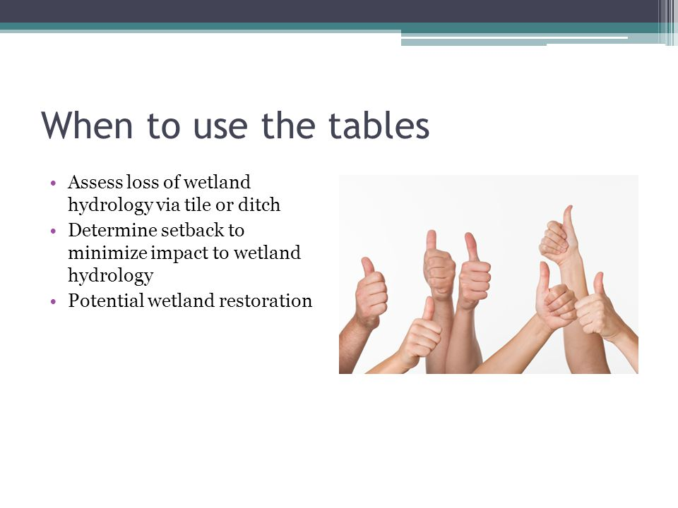When to use the tables Assess loss of wetland hydrology via tile or ditch. Determine setback to minimize impact to wetland hydrology.