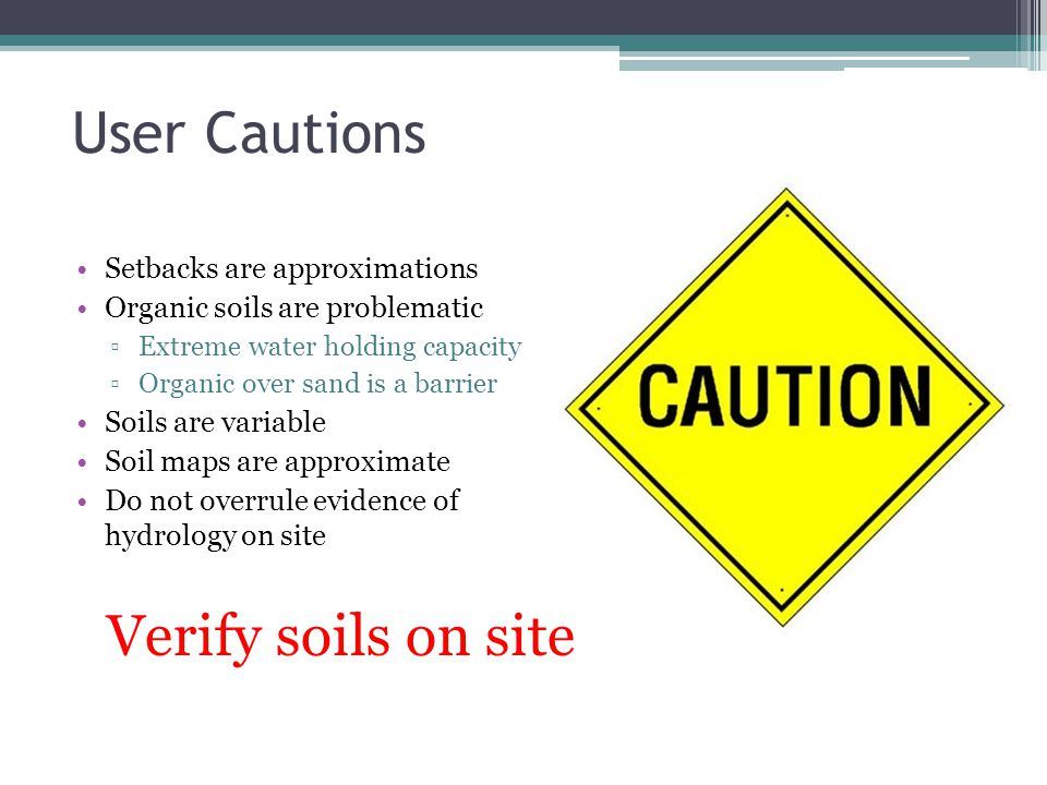 User Cautions Verify soils on site Setbacks are approximations