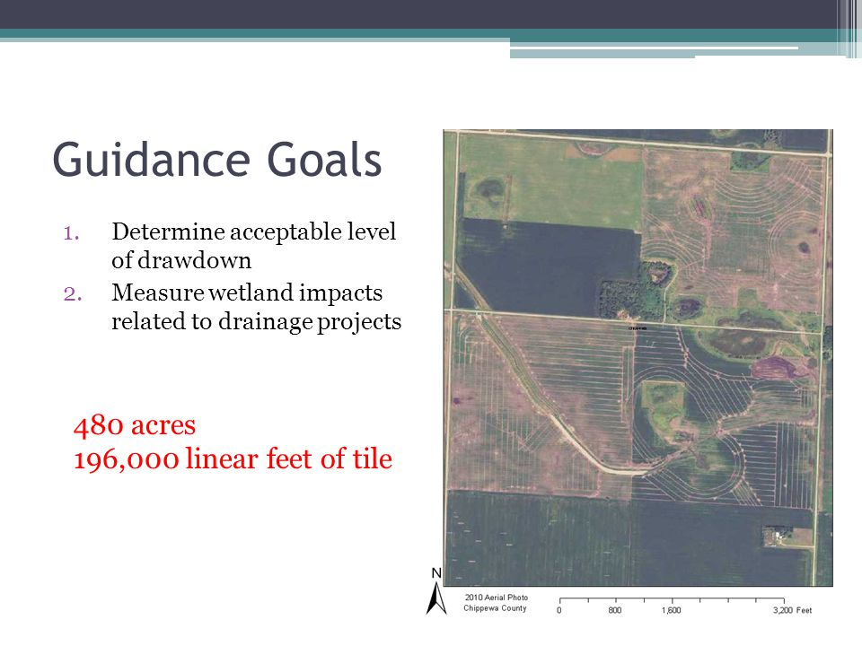 Guidance Goals 480 acres 196,000 linear feet of tile