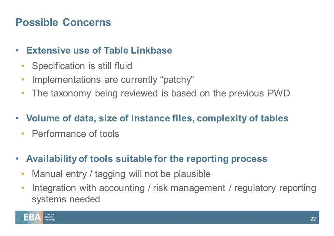 Possible Concerns Extensive use of Table Linkbase