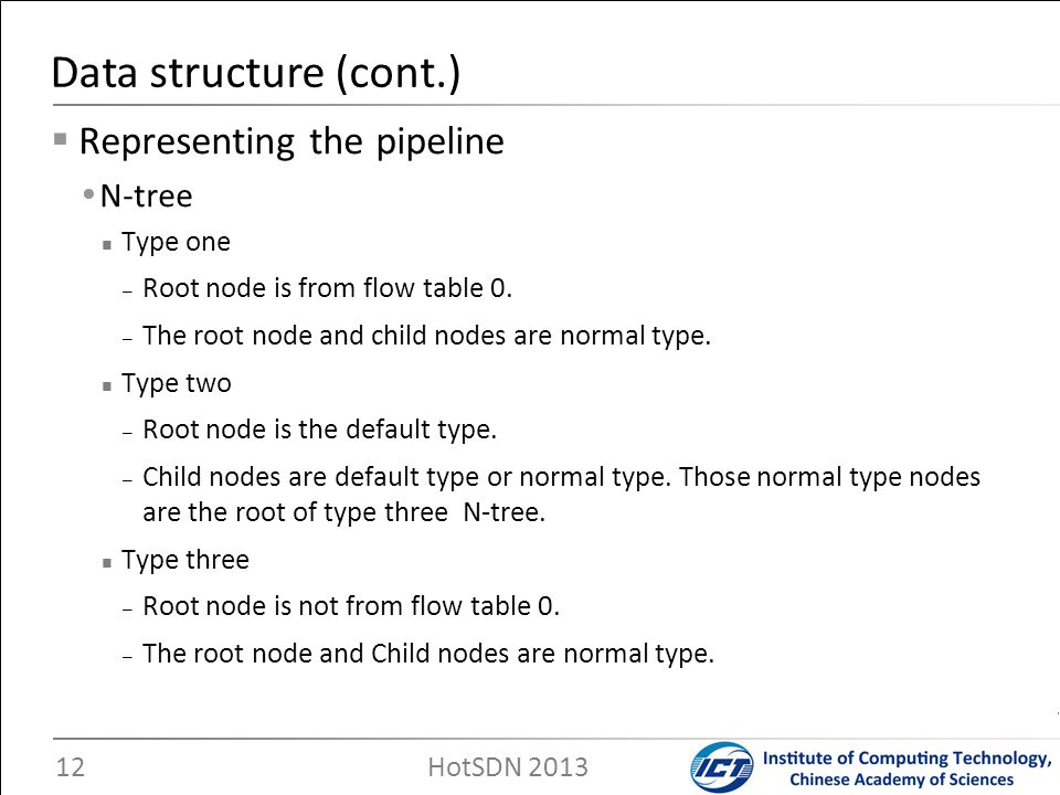 Data structure (cont.) Representing the pipeline N-tree Type one
