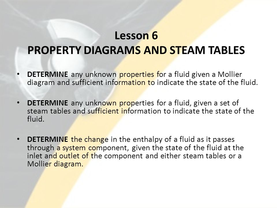 Lesson 6 PROPERTY DIAGRAMS AND STEAM TABLES