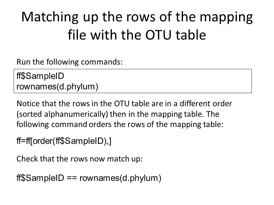 Matching up the rows of the mapping file with the OTU table