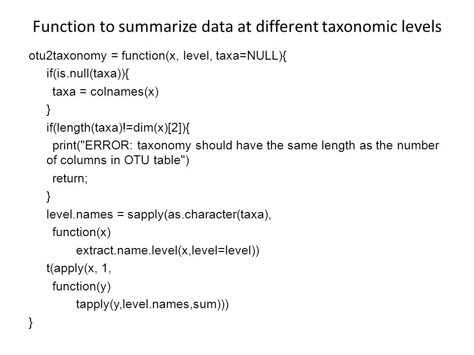 Function to summarize data at different taxonomic levels