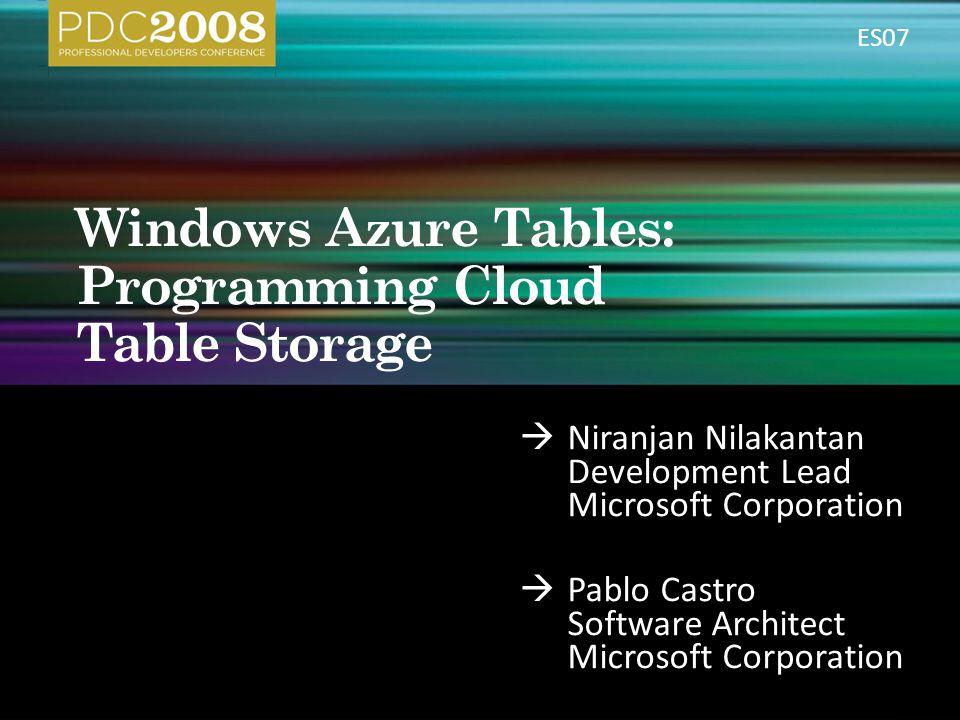 Windows Azure Tables: Programming Cloud Table Storage