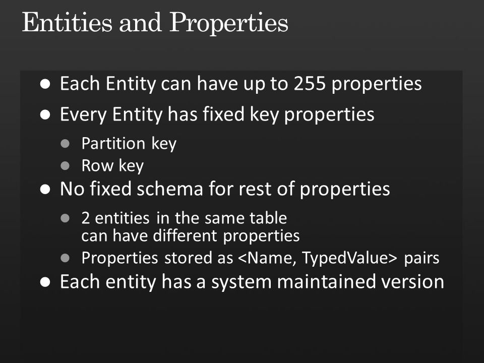 Entities and Properties