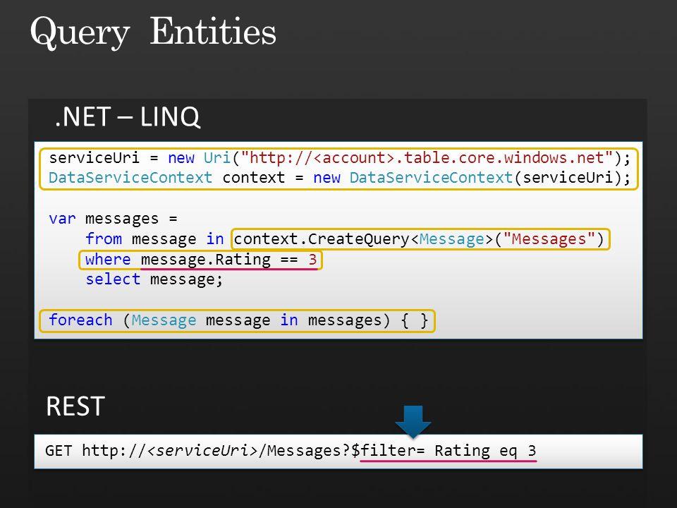 Query Entities .NET – LINQ REST