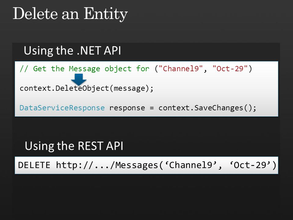Delete an Entity Using the .NET API Using the REST API