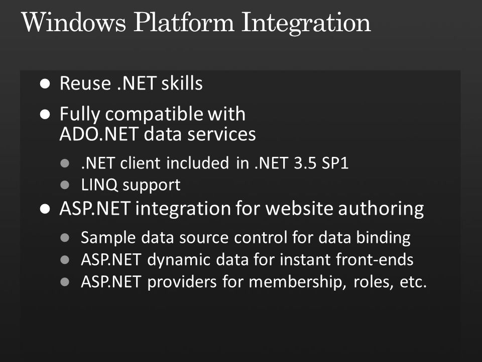 Windows Platform Integration