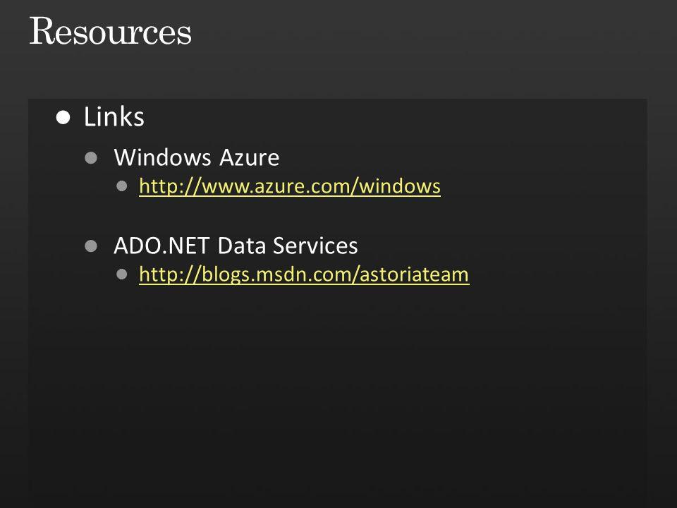 Resources Links Windows Azure ADO.NET Data Services