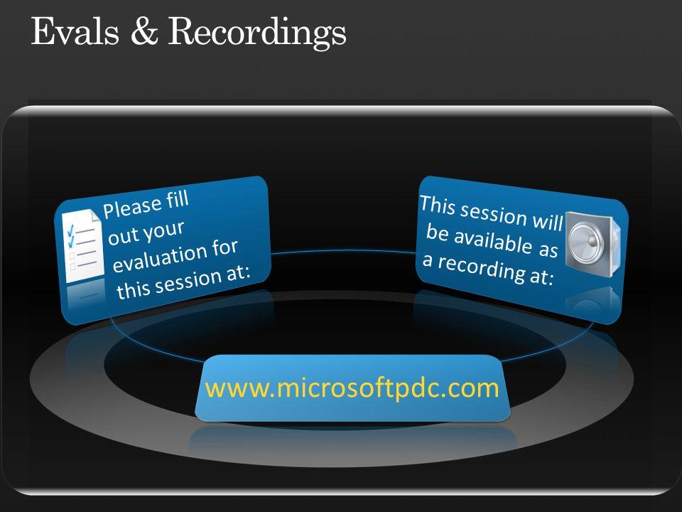 Evals & Recordings www.microsoftpdc.com