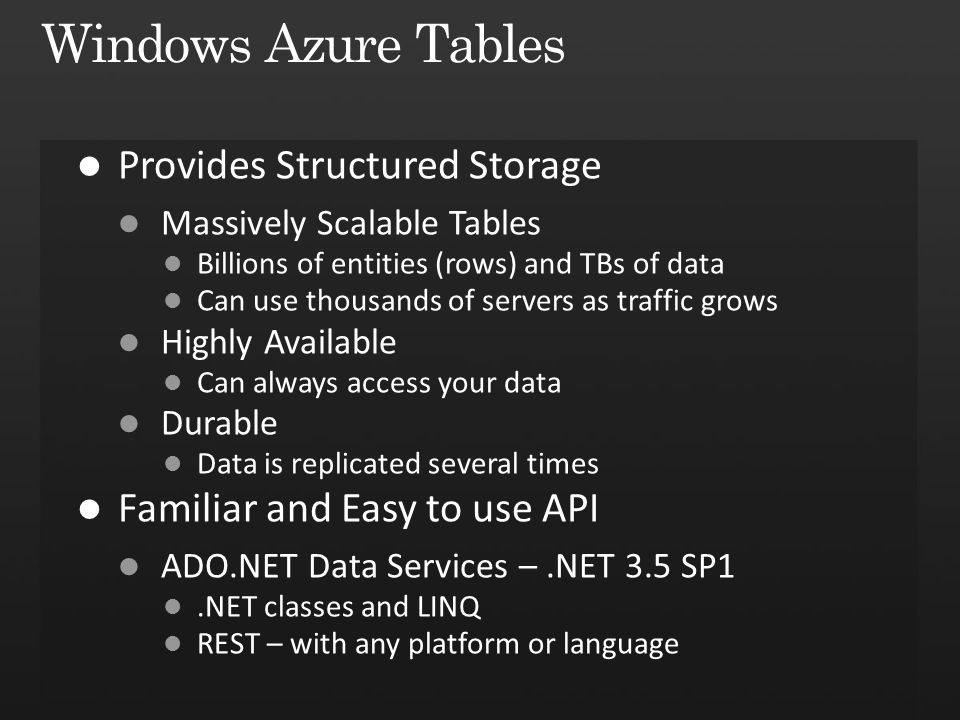 Windows Azure Tables Provides Structured Storage