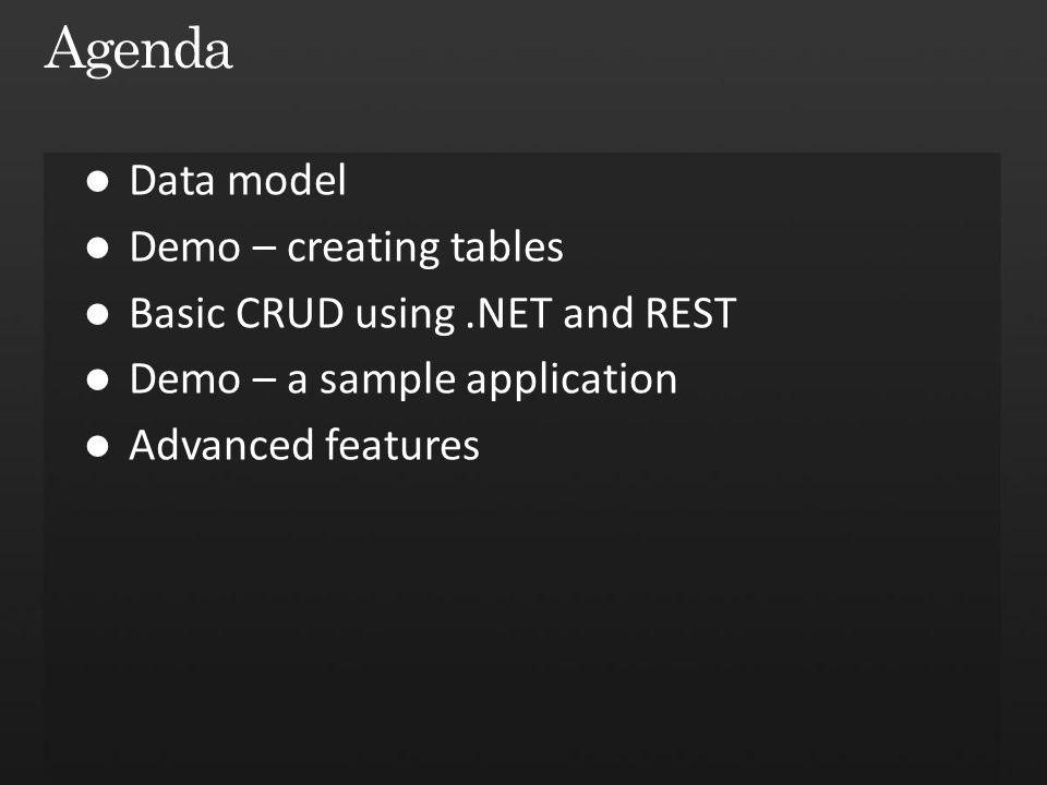 Agenda Data model Demo – creating tables