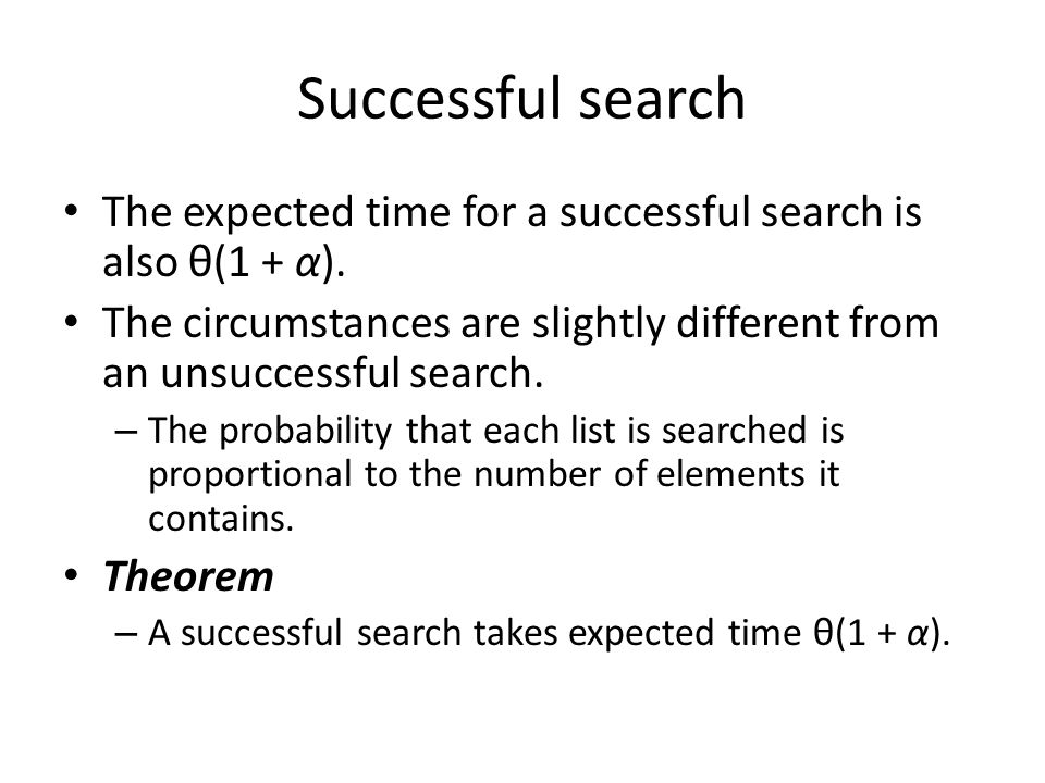 Successful search The expected time for a successful search is also θ(1 + α). The circumstances are slightly different from an unsuccessful search.