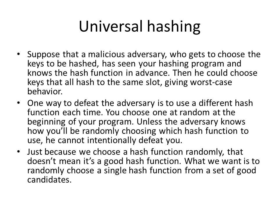 Universal hashing