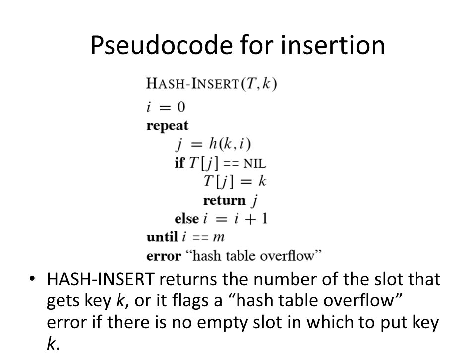 Pseudocode for insertion