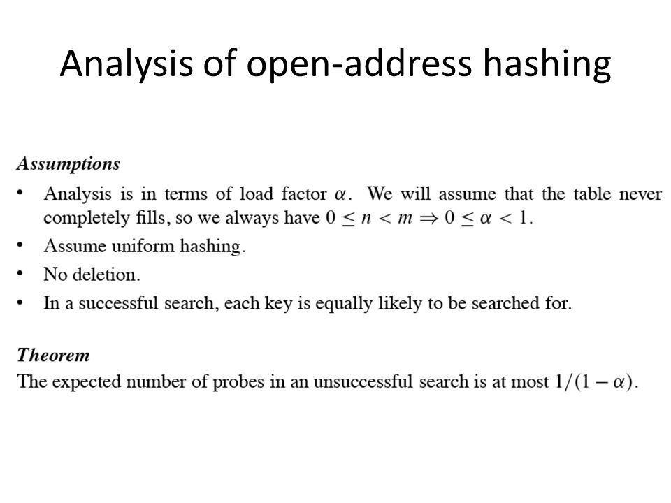 Analysis of open-address hashing