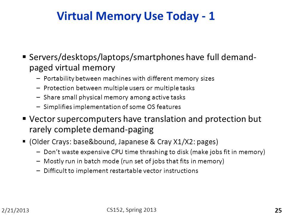 Virtual Memory Use Today - 1