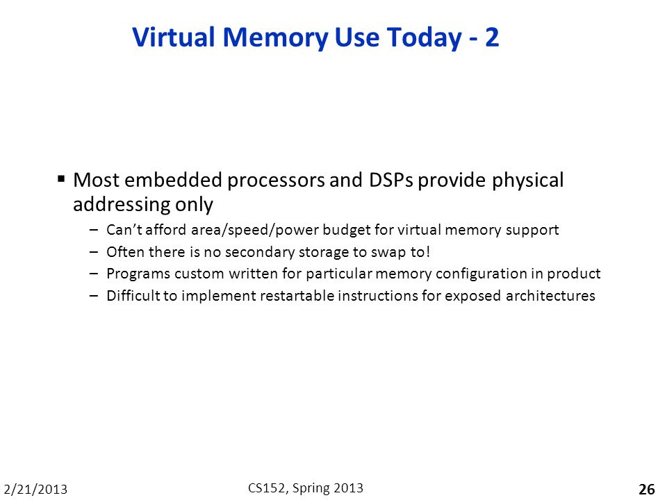 Virtual Memory Use Today - 2