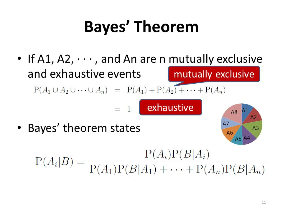 Bayes' Theorem If A1, A2, · · · , and An are n mutually exclusive and exhaustive events. Bayes' theorem states.