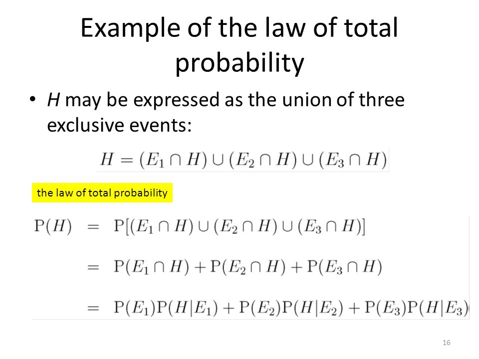 Example of the law of total probability