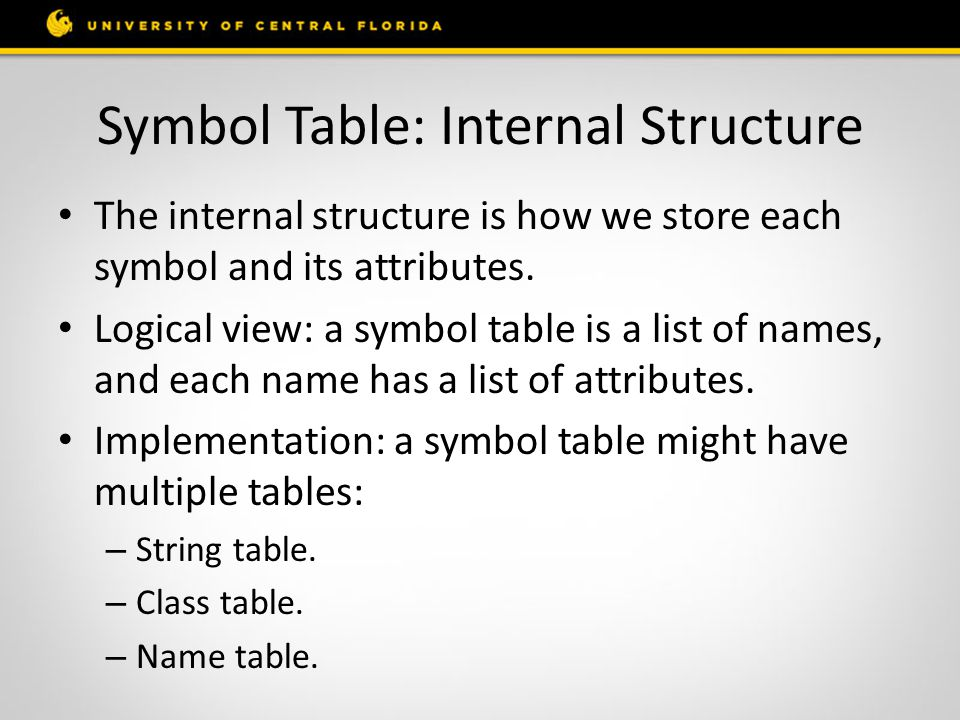 Symbol Table: Internal Structure