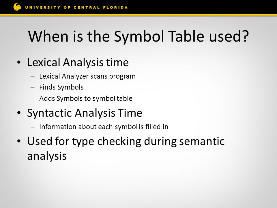 When is the Symbol Table used