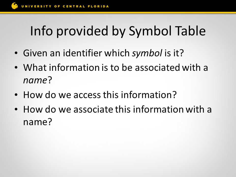 Info provided by Symbol Table