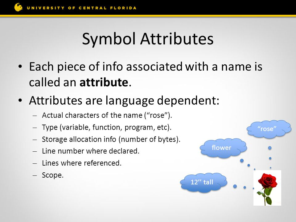 Symbol Attributes Each piece of info associated with a name is called an attribute. Attributes are language dependent: